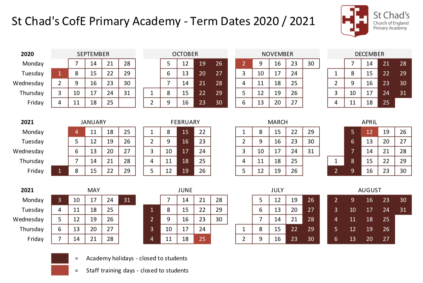 St Chad's CofE Primary Academy Term dates 2020/2021